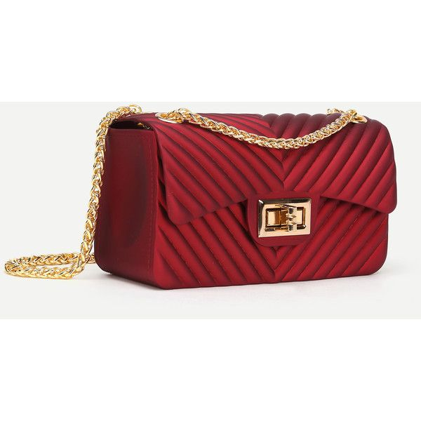 Chevron Stitch PVC Chain Crossbody Bag (28 BAM) ❤ liked on Polyvore featuring bags, handbags, shoulder bags, pvc handbags, red purse, red crossbody purse, chevron purses and red crossbody