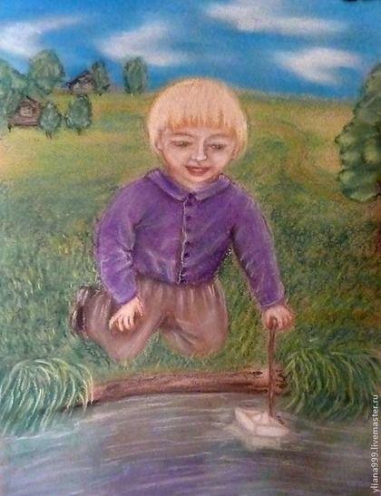"""Картина пастелью """"Плыви мой кораблик"""" - картина,картина в подарок,пастель"""
