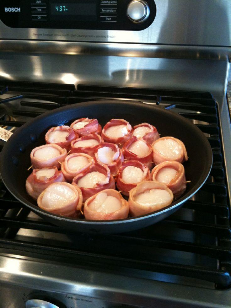 Bacon wrapped pan seared scallops