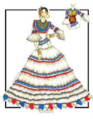 Traje Tipico De La Republica Dominicana translation= typical dress of the Dominican Republic
