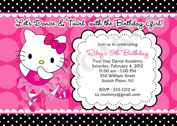 Invitations for Ansley's 5th Birthday Party? Hello Kitty Ballerina Birthday Party Invitation by ...