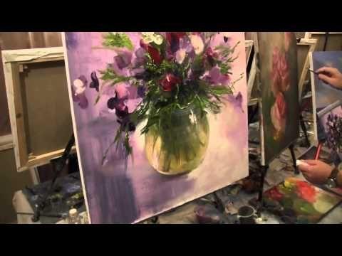 Ещё букет 163 Видео урок живописи. Картина маслом Игорь Сахаров - YouTube
