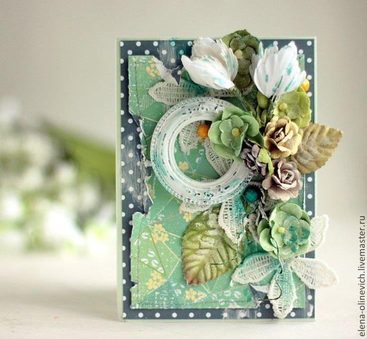 Надписью, открытка скрапбукинг с цветами в горошек