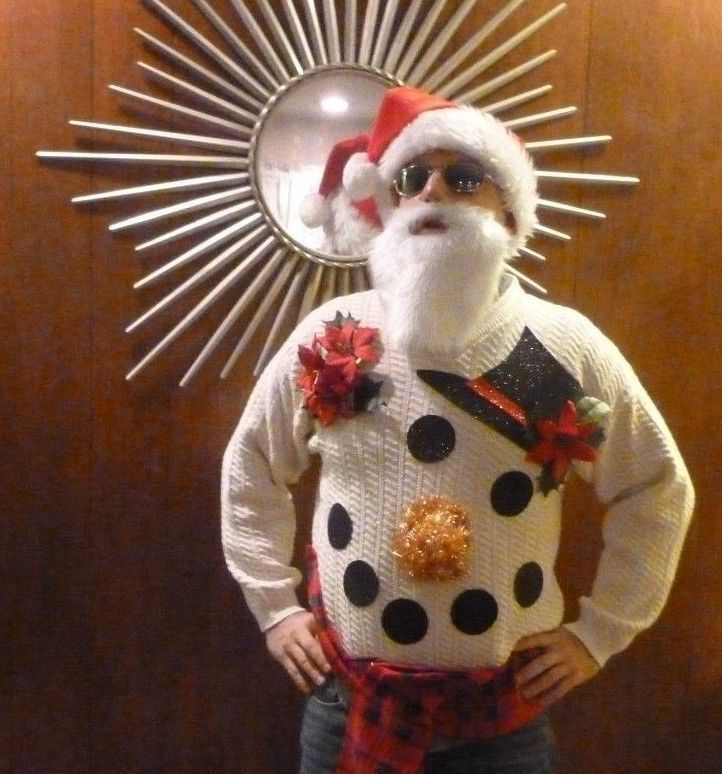 Ugly Christmas Sweater Snowman Face White Black Hat Men's S Red Scarf #BillBlass #Crewneck
