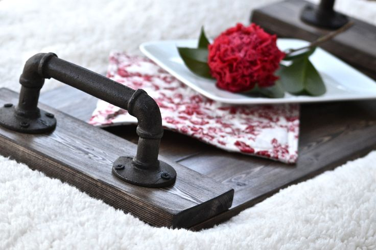 Industrial Serving Tray with Cast Iron Handles