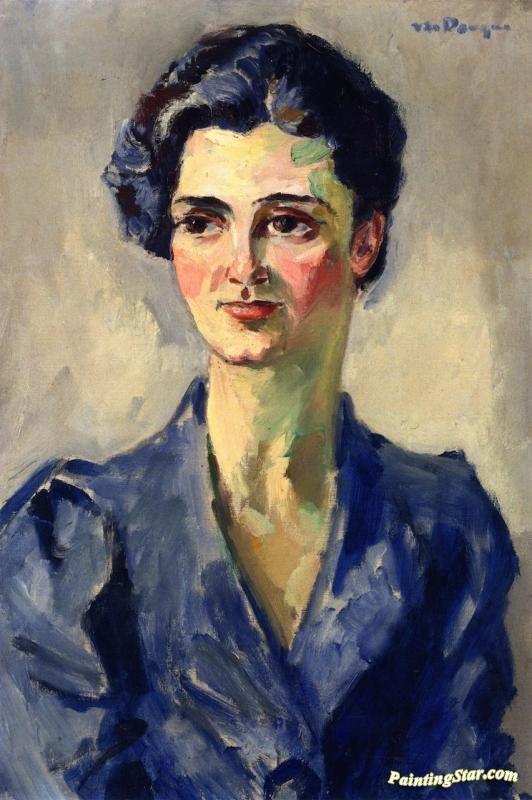 Portrait Of A Woman In A Blue Dress Artwork by Kees Van Dongen Oil ...