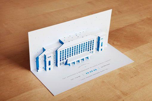 Une invitation en pop up réalisé pour le gala annuel de la bibliothèque de St Louis par Toky.