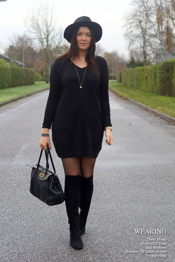 Wearing my lovely fedora hat, knee high boots, mango dress and my beautiful Mulberry Bayswater.  More on my blog: www.everyday-couture.dk  #fedora #outfit #fashion #look #ootd #black #dress #kiss #blogger #bayswater #mulberry