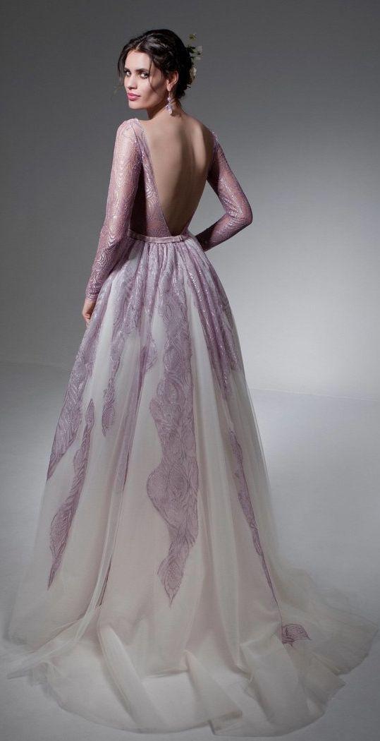 Chic lavender lace long-sleeve open back wedding dress; Featured Dress: Jillian