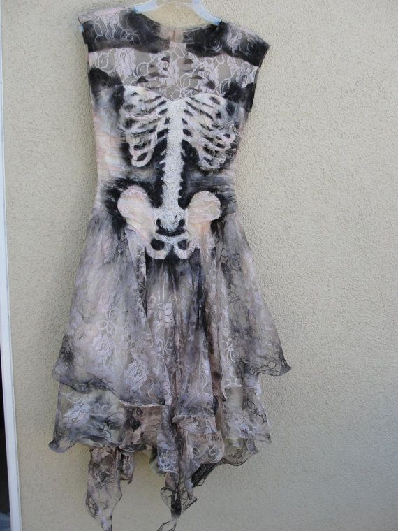 SO COOL. one of a kind  lace skeleton dress / dia de los muertos / day of the dead / halloween costume / size SMALL/MEDIUM
