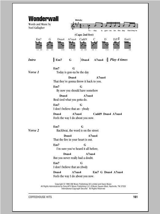 Wonderwall sheet music by Oasis (Lyrics & Chords – 81826)