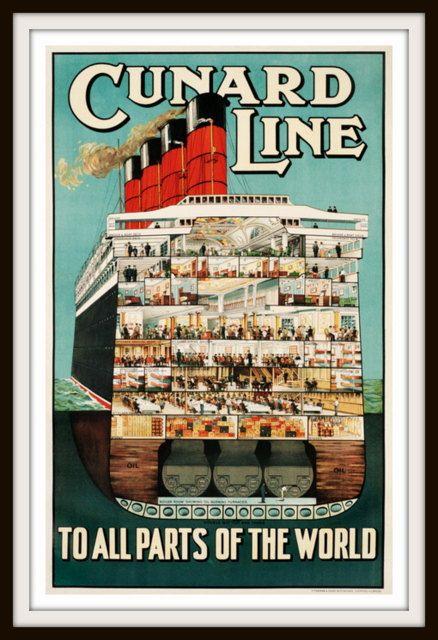 Vintage Travel Poster  Cunard Line circa by RosiesVintagePrints, $25.00