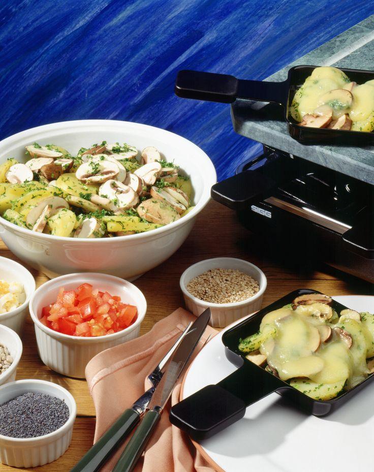 Buntes Kartoffel-Pilz-Raclette   Kalorien: 920 Kcal - Zeit: 45 Min.   http://eatsmarter.de/rezepte/buntes-kartoffel-pilz-raclette