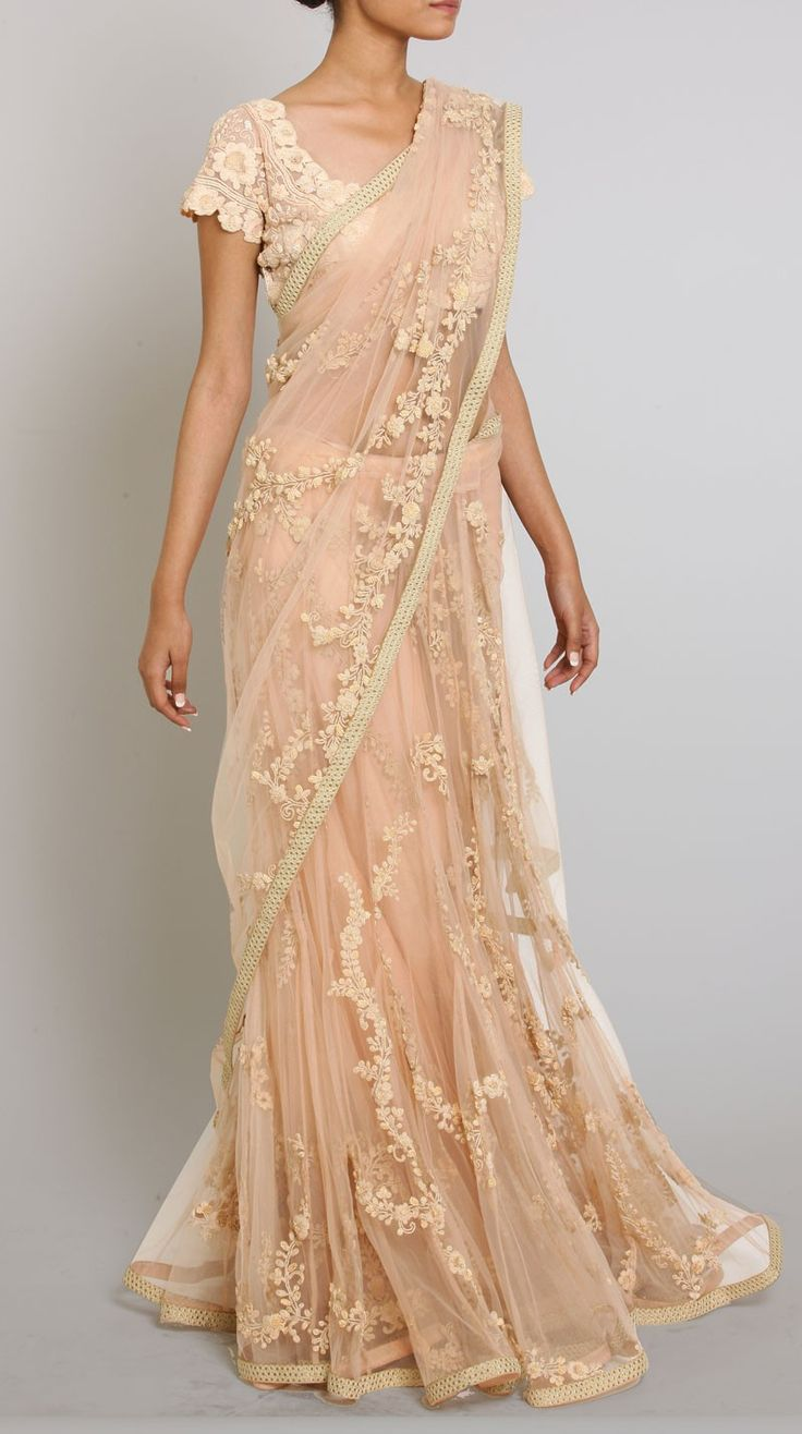 Designer Peach Dori Embroidered Net Sari Online