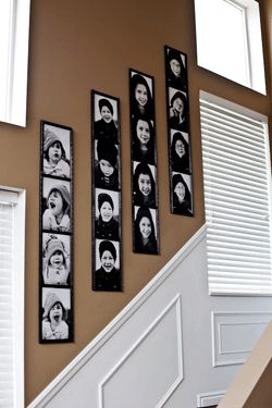 Giant family photo strips on the wall- AND the most comprehensive site I've seen yet on family photos.... Choosing clothing, props, arrangements, tips, colors, poses....