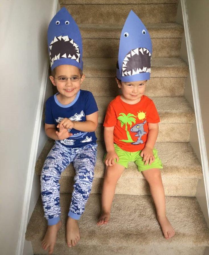DIY shark hats for beach birthday party