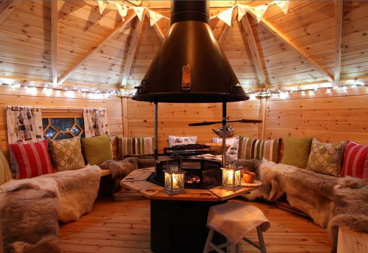 hut with fire pit // it's not an open fire pit… i wonder if something like this added to our shed would work with the hemlock grove rules cuz it'll have a chimney