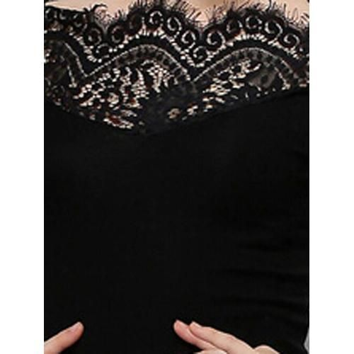 Black Lace Panel Tight Long Sleeve T-shirt D902-TSHI1104A321K