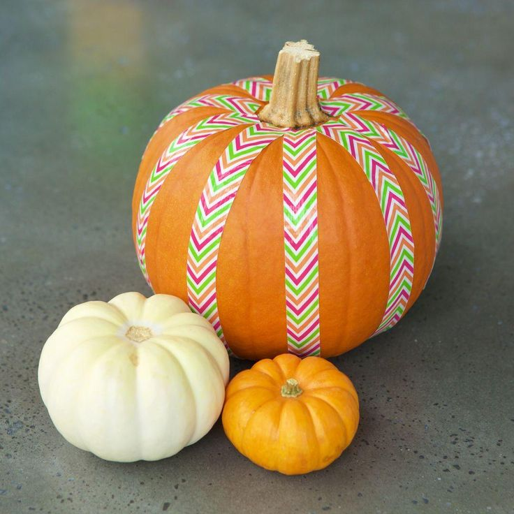 A simple way to decorate a pumpkin for Halloween using your favorite Duck® brand duct tape. http://duckbrand.com/products/duck-tape/prints/mini-rolls/zig-zag-75-in-x-180-in?utm_campaign=dt-crafts&utm_medium=social&utm_source=pinterest.com&utm_content=duct-tape-crafts-halloween