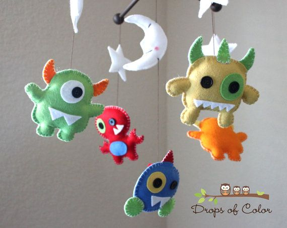 Monsters Mobile, Baby Mobile, Baby Crib Mobile, Monsters in Space, Stars and Moon, Monsters Nursery Decor, Aliens, Handmade Felt Mobile
