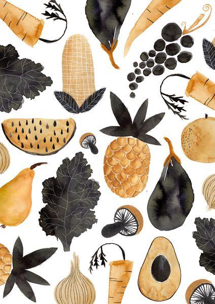 Poster Obst & Gemüse A3 von bär von pappe auf DaWanda.com Fruit & Veggie Illustration, Ananas