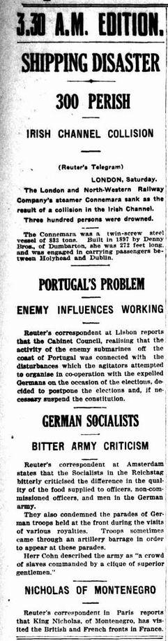WWI, Sunday 5 Nov 1916, The Sun, Sydney