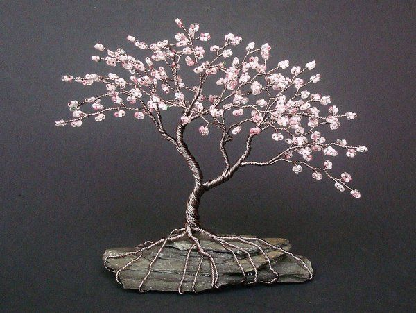 Mini asymetrical cherry blossom beaded bonsai by for How to make a wire tree of life sculpture