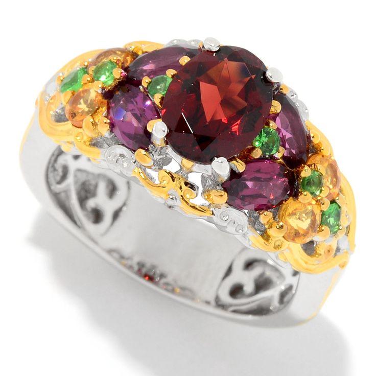 158-886 - Gems en Vogue 3.08ctw Multi Color Garnet 15-Stone Band Ring