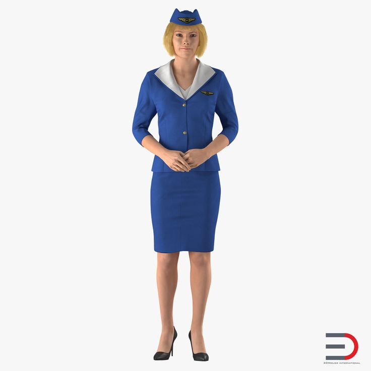Stewardess Standing Pose 3D