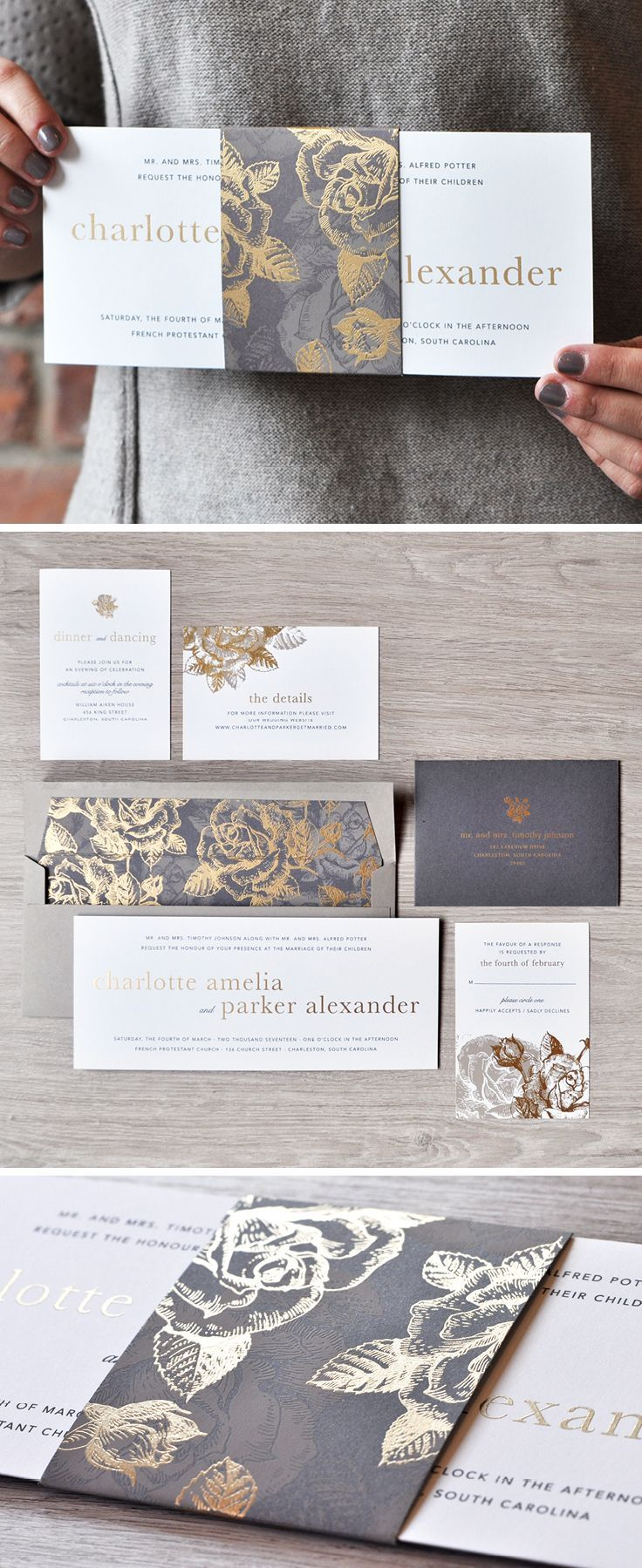 A stunning gold and grey wedding invitation design from Engaging Papers. What do we love most? The floral pattern and belly band!   https://engagingpapers.com/wedding-invitations?product_id=488