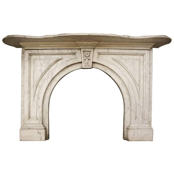 19th Century Mid-Victorian Arched Carrara Marble Fireplace Surround