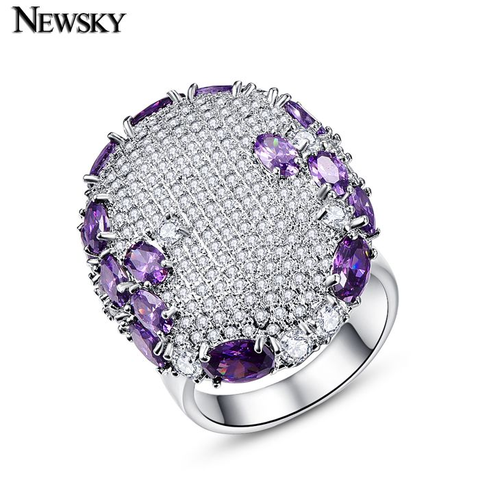 NEWSKY 925 Sterling Silver Ring 2017 NEW Rings For Women Engagement Wedding Rings With 300 Zirconias Purple Rings  Jewelry