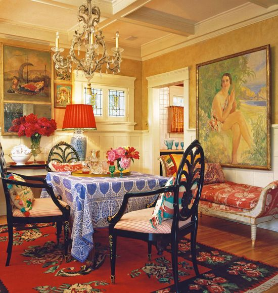 Afternoon tea with my grandma.............colorful eating space with personality! Lynn Von Kersting, designer