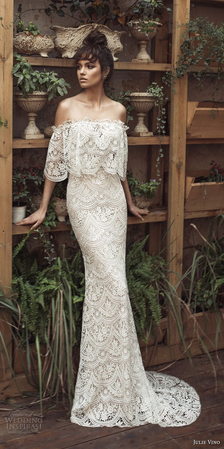 julie vino 2017 bridal off the shoulder straight across cape full embellishment romantic bohemian fit and flare wedding dress sweep train (1254) mv -- Romanzo by Julie Vino 2017 Wedding Dresses