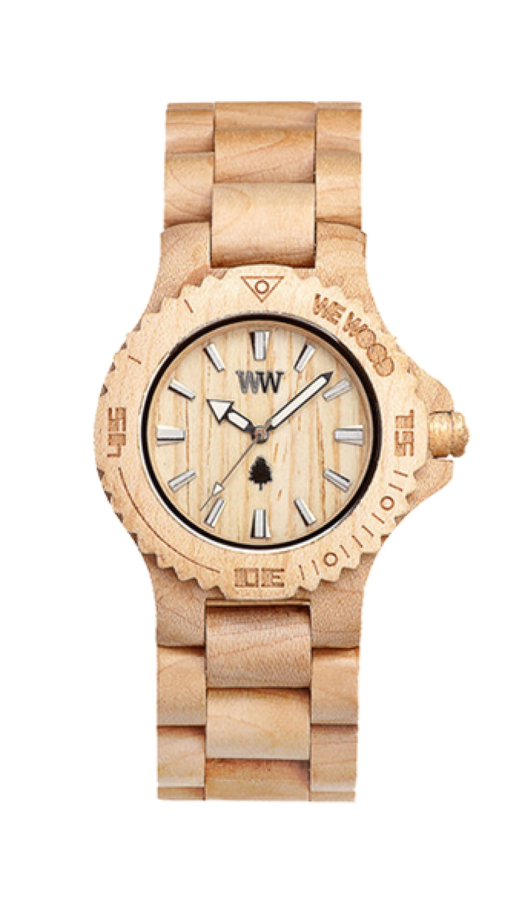Jemně béžové hodinky, které jsou až na strojek vyrobené celé z javorového dřeva, podtrhnou na vašem volnočasovém vzhledu světlé barvy nebo naopak zvýrazní ty tmavé.