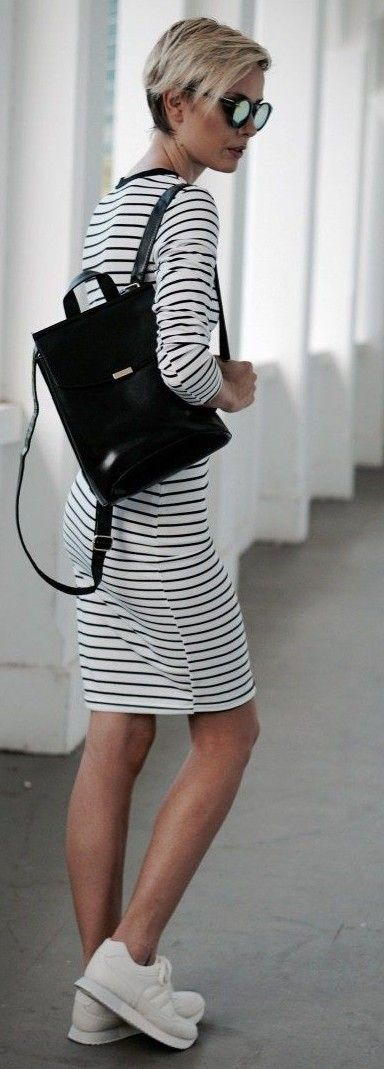 Striped Sporty Chic Outfit                                                                             Source