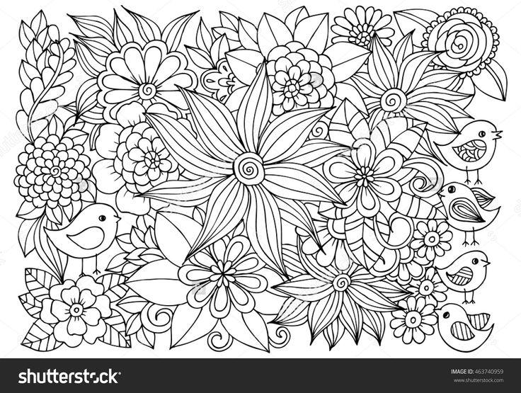 çiçek desenli ve kuşların Vektör boyama.  yetişkin anti-stres kitap için Doodle çiçekler.  Siyah beyaz el çizilmiş doğa illüstrasyon.
