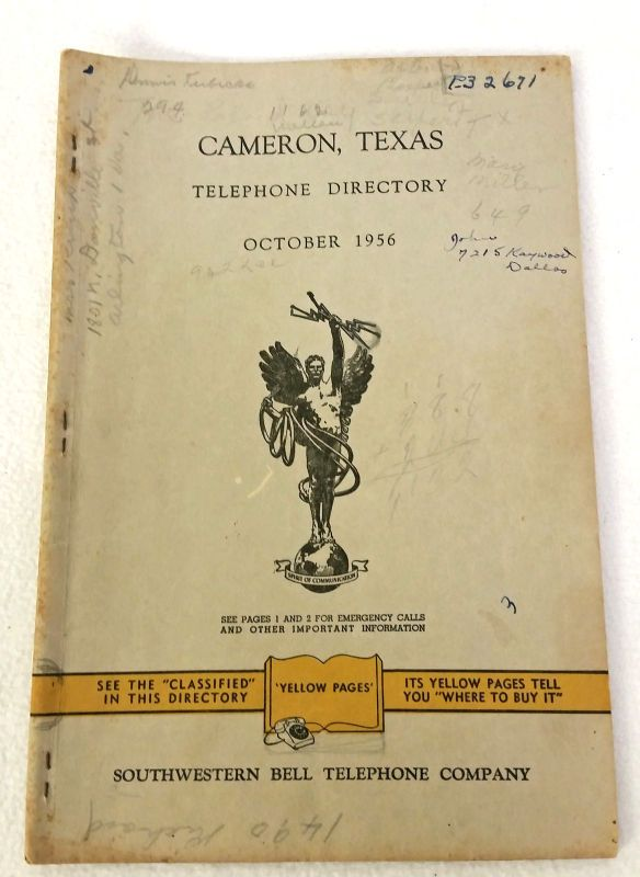 October 1956 Cameron Texas Telephone Directory Phone Book Southwestern Bell Co #CameronTexasSouthwesternBell