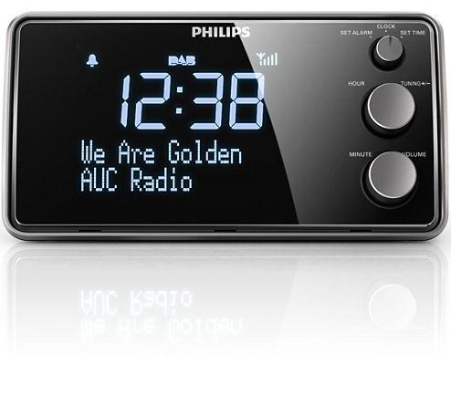 Deze Philips AJB3552/12-klokradio met groot LCD-display wekt u met muziek uit meerdere bronnen. De ingebouwde kraakvrije DAB+-radio biedt kristalheldere muziek uit een keuze aan stations. De tijd en het alarm stelt u eenvoudig in met de drie knoppen op de voorkant.