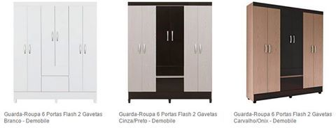 Americanas Guarda-Roupa 6 Portas Flash 2 Gavetas - Demobile R$ 242,92