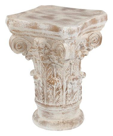 Look at this #zulilyfind! 28'' Stone White Column Accent Table #zulilyfinds