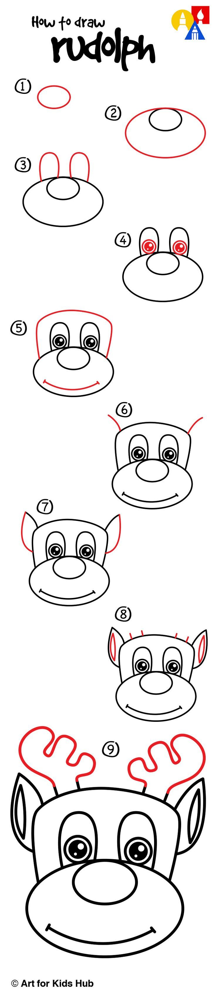 62 best afkh step by steps images on pinterest easy drawings how to draw rudolph art for kids hub altavistaventures Image collections