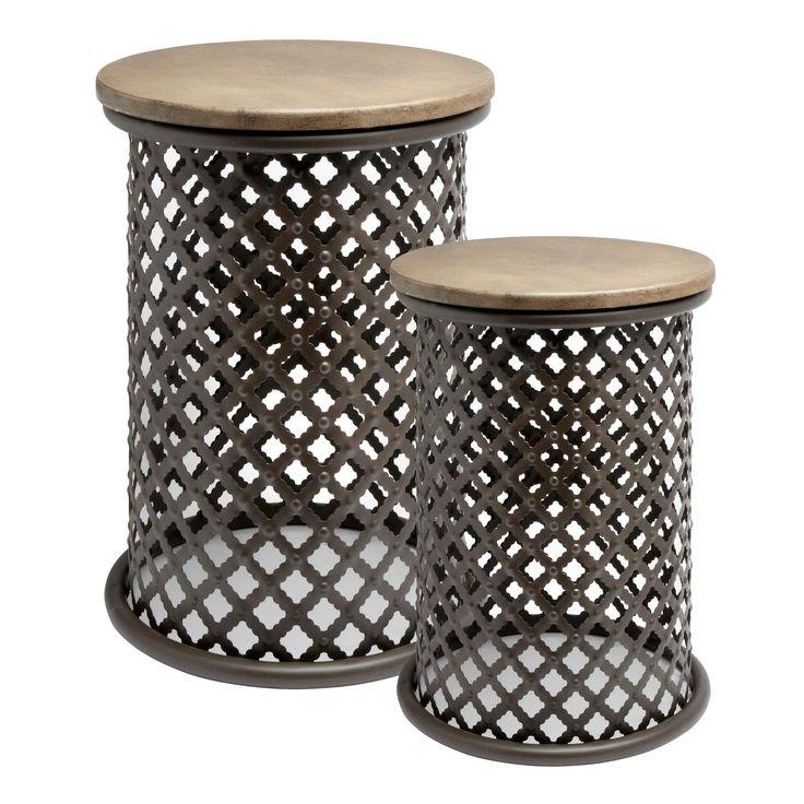 wood top pierced metal drum table christmas tree shops 2999 - Christmas Tree Shop Patio Furniture