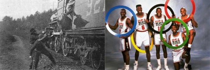 "TODAY IN HISTORY -  (1963) the 15 thieves involved in the Great Train Robbery, escape in an ex-British Army  truck and two stolen Land Rover four-wheel drive all-terrain vehicles,  making off with some $7 million in stolen loot. (1992) The first Olympic basketball team comprised of NBA stars! The ""Dream Team"" easily took gold home. Some of the players included: Michael Jordan, Magic Johnson, and Larry Bird. #todayinhistory #train #olympics #dreamteam"