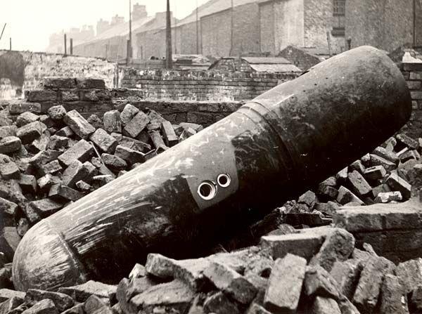Liverpool - A (Parachute) landmine in Hey Green Road, 28th November 1940