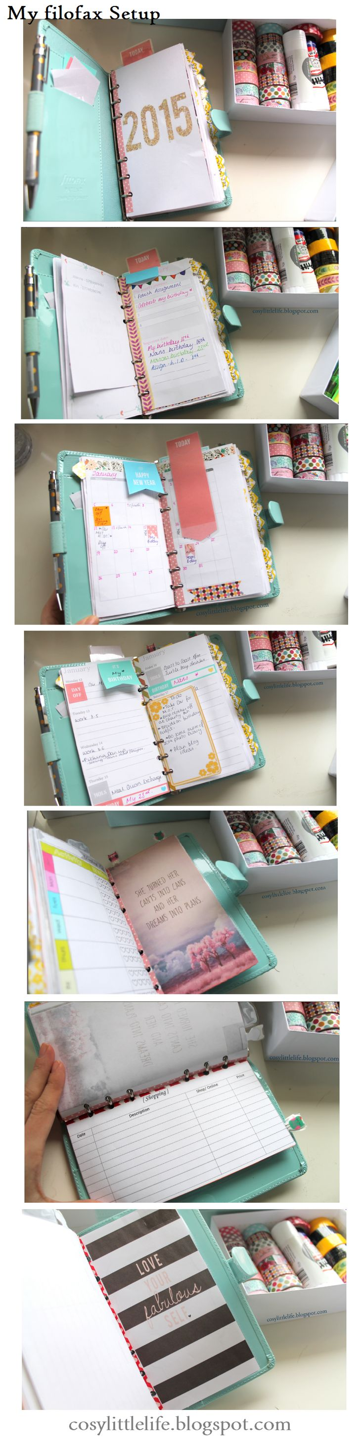 My Filofax Setup. Check out the blogpost at cosylittlelife.blogspot.com