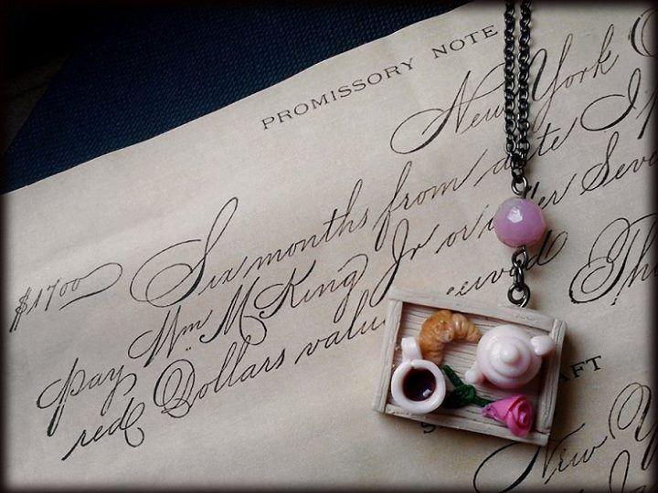 sweet miniature breakfast tray necklace   polymer clay food jewelry