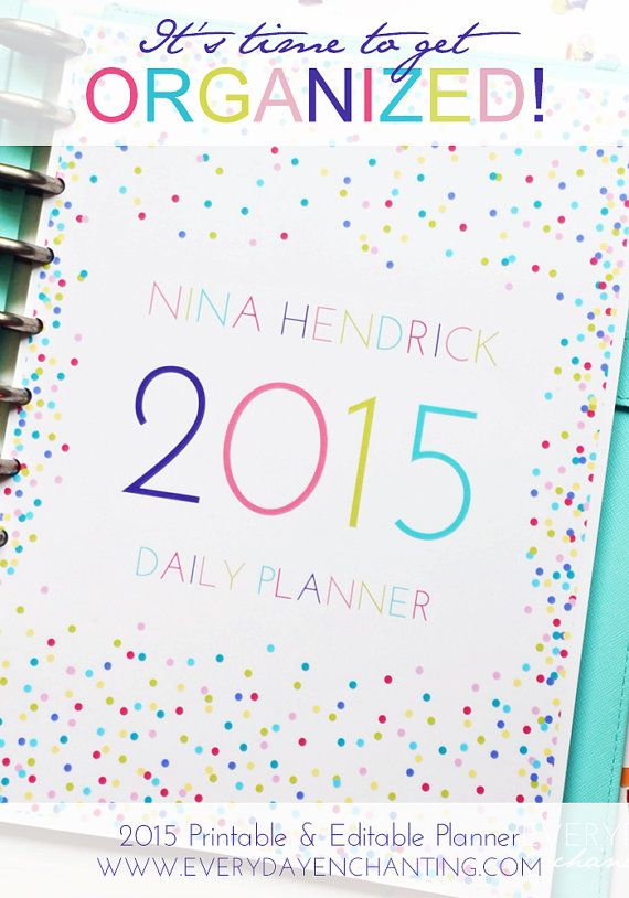 EDITABLE 2014/15 Printable Full Page Size Daily Planner pdf INSTANT DOWNLOAD- diy/Customize Editable in Adobe Reader