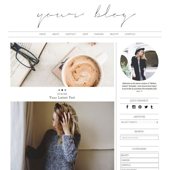 "Wordpress Theme ""Writers Dream"" by AvenueDesigns on Creative Market"