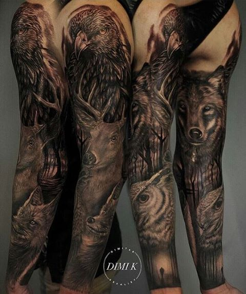Nature and Animals Sleeve Tattoo | Venice Tattoo Art Designs